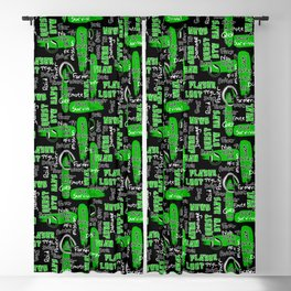 Gamer Lingo-Black and Green Blackout Curtain