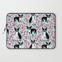 Boston Terrier cherry blossom spring dog breed pet art pet portrait pet friendly design Laptop Sleeve