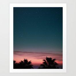 Starry Night, Sunset Digital Print, Spain Poster, Mediterranean, Beach, Palm Trees, Wallpaper Art Print