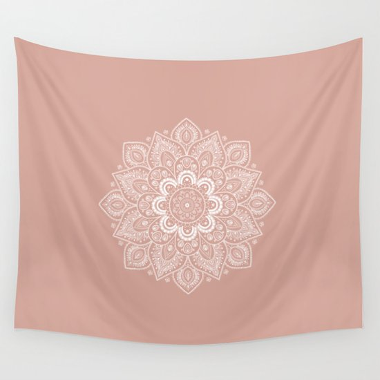 Pink Wall Tapestry mandala flower in ash pink wall tapestrylena photo art | society6