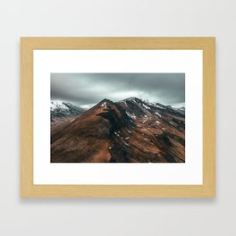 Snow patch on mountain in Iceland Framed Art Print