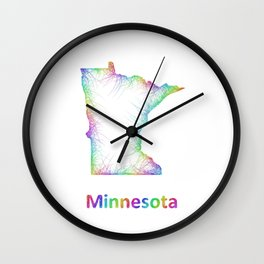 Rainbow Minnesota map Wall Clock