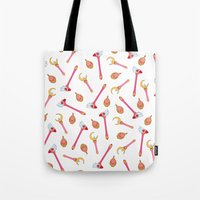 magical girl Tote Bags featuring Magical Girl Weapons by mimia