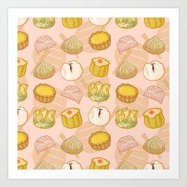 Dimsum everywhere! [peach] Art Print