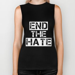 end the hate hipster Biker Tank