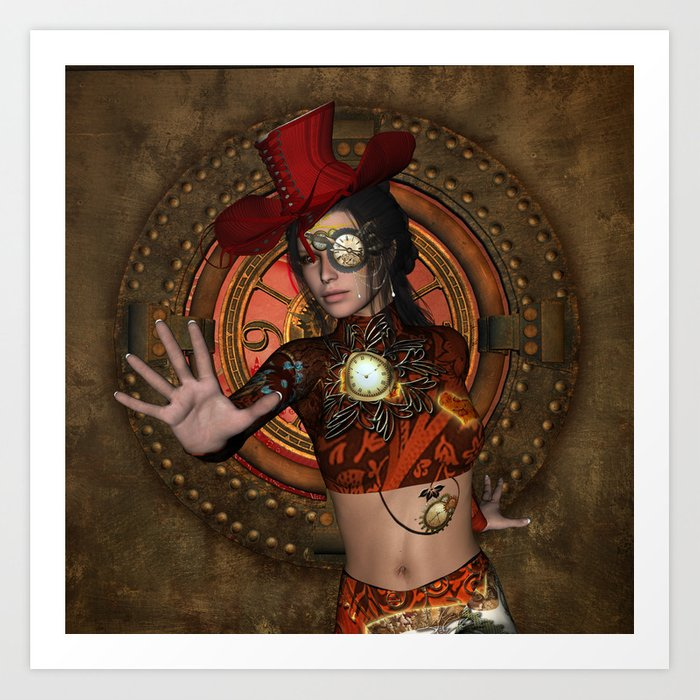 dced16281ae8d Steampunk women with hat Art Print by nicky2342