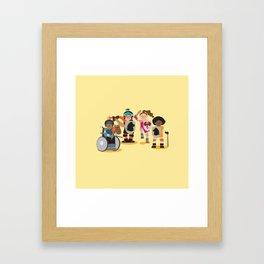 Knight kids - yellow background Framed Art Print