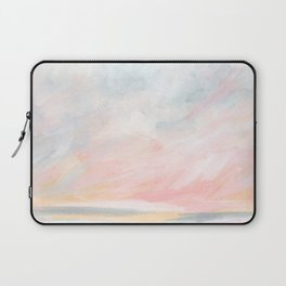 Overwhelm - Pink and Gray Pastel Seascape Laptop Sleeve