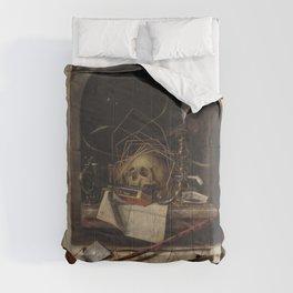 Cornelius Norbertus Gijsbrechts - Trompe l'oeil with Studio Wall and Vanitas Still Life.jpg Comforters