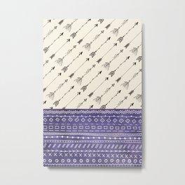 Tribal Arrows and patterns purple Metal Print