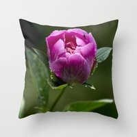 peony Throw Pillows featuring Peony by Christina Rollo