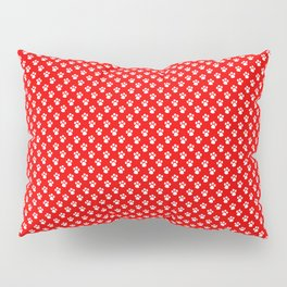 Tiny Paw Prints Pattern - Bright Red & White Pillow Sham
