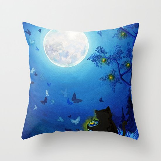 Butterflies and Fairy Lanterns Throw Pillow