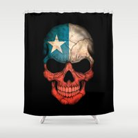 chile Shower Curtains featuring Dark Skull with Flag of Chile by Jeff Bartels