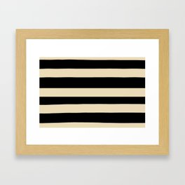 Valspar America Wood Yellow - Homey Cream - Glow Home Hand Drawn Fat Horizontal Stripes on Black Framed Art Print