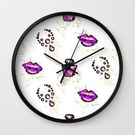 Purple lips with perfume Wall Clock