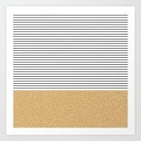 stripes Art Prints featuring Minimal Gold Glitter Stripes by Allyson Johnson