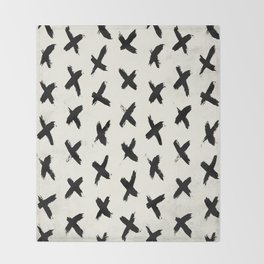 Black X on Ivory Throw Blanket