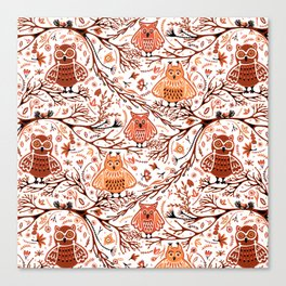 Cute Owls in Fall on Tree Branches Canvas Print