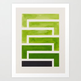 Olive Green Inca Braid Minimalist Geometric Pattern Mid Century Modern Watercolor Painting Art Print