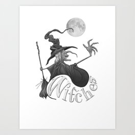 Black and White Witch Art Print