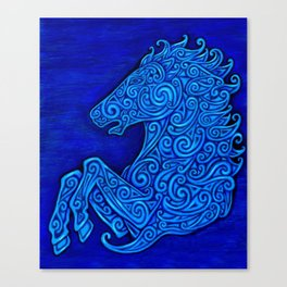 Blue Celtic Horse Abstract Spirals Canvas Print