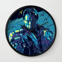 terminator Wall Clocks featuring The Terminator // Evil Villians by mergedvisible