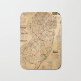 Map Of New Jersey 1860 Bath Mat