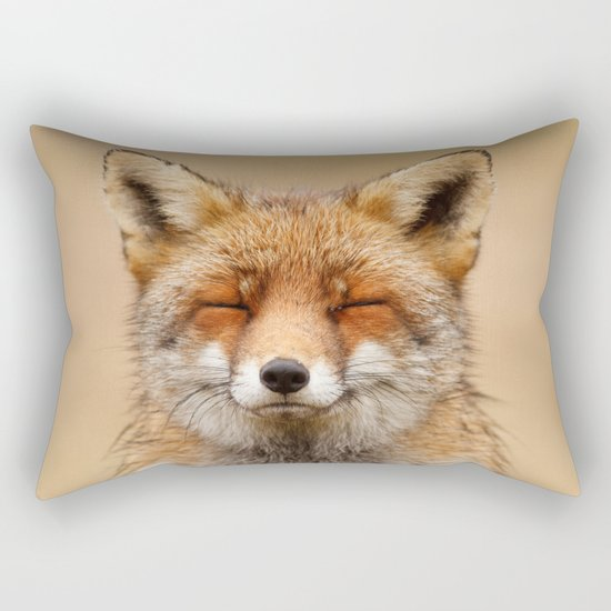 Zen Fox (Red Fox smiling) Rectangular Pillow