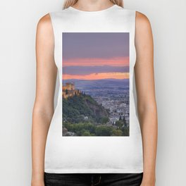 The alhambra and Granada city at sunset Biker Tank