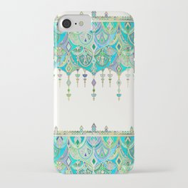 Art Deco Double Drop in Jade and Aquamarine on Cream iPhone Case