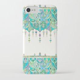 Art Deco Double Drop in Jade and Aquamarine on Cream iPhone Case