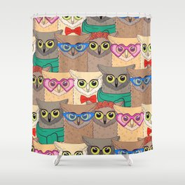 Pattern with cute owls with trendy accessories - glasses, bow-tie, flowers, scarf Shower Curtain