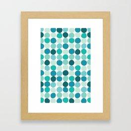 Midcentury Modern Dots Blue Framed Art Print