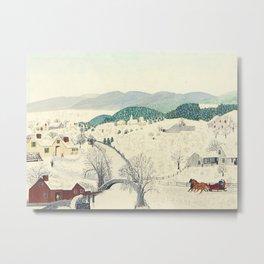 Anna Mary Robertson 'Grandma' Moses To Grandma's House We Go on Thanksgiving Day Folk Art Metal Print