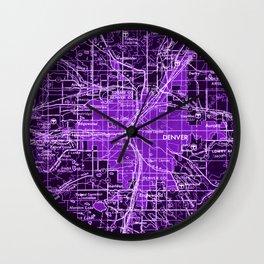 Denver Colorado map, year 1958, purple filter Wall Clock
