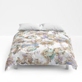 Vintage blush lavender brown teal blue roses floral Comforters