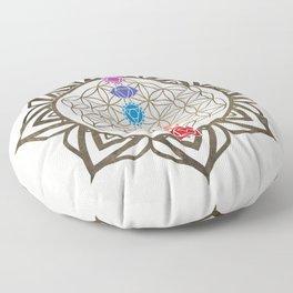 Flower of Life Chakra Healing Mandala Floor Pillow