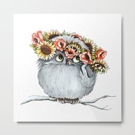 Owl and flowers Metal Print