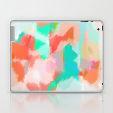 Fayola - Coral, teal, pink and white abstract art Laptop & iPad Skin