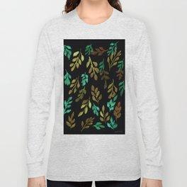 180726 Abstract Leaves Botanical Dark Mode 16 |Botanical Illustrations Long Sleeve T-shirt