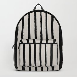 Vertical Black and White Watercolor Stripes Backpack