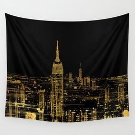 Abstract Gold City  Skyline Design Wall Tapestry