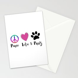 Peace Love & Paws Illustration Stationery Cards
