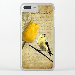 Rustic Goldfinch Tulip Journal type Modern Country Modern Cottage Chic Art A257 Clear iPhone Case