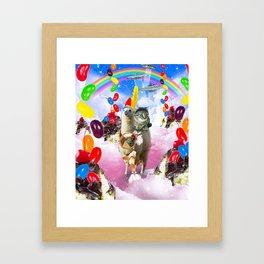 Cat Riding Llama With Sundae And Jelly Beans Framed Art Print