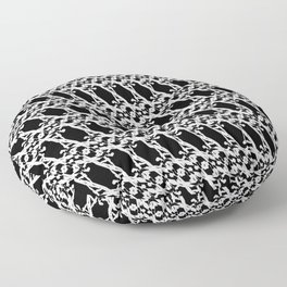 Strict pattern of white squiggles and black ropes on a monochrome background Floor Pillow