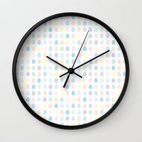 polkadot Wall Clocks featuring Mini Pastel Polkadot by chelsea dawn brown