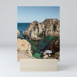 Dreamy cliffs and turquoise sea water, Algarve - Sea Beach Print Mini Art Print