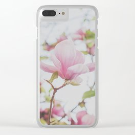 Pink Magnolias Clear iPhone Case